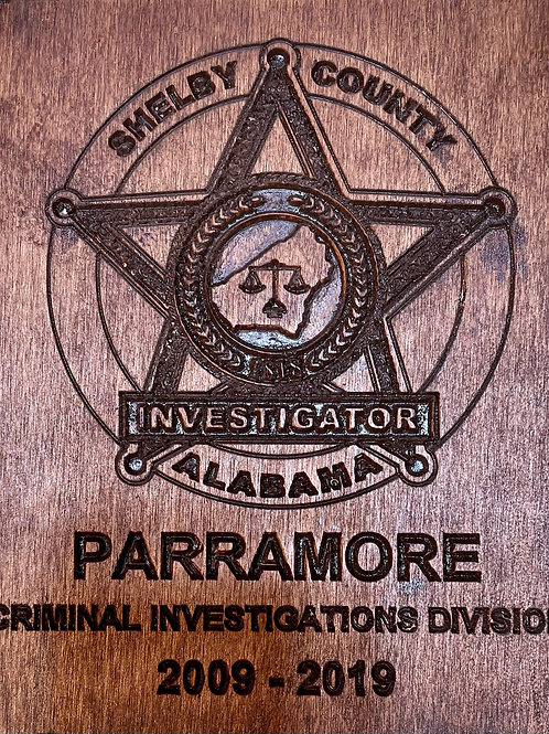 Small CID badge plaque with years of service in CID.