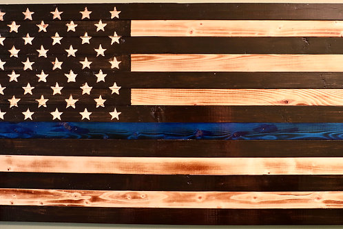 Medium Wooden Rustic Thin Blue Line Flag (13 in  X 24.75 in)