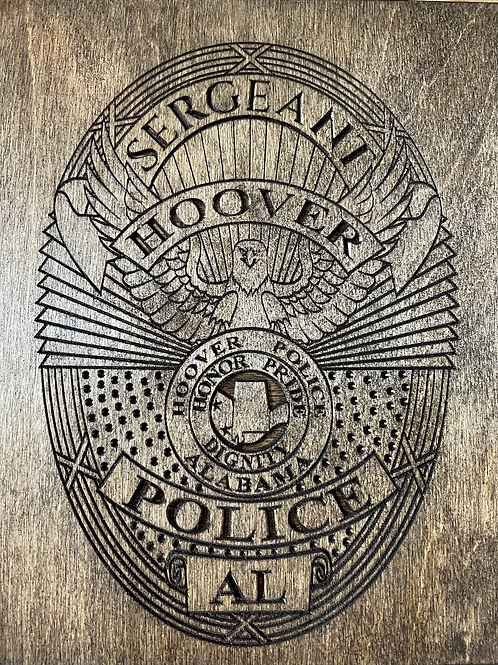 Hoover Police Badge Plaque