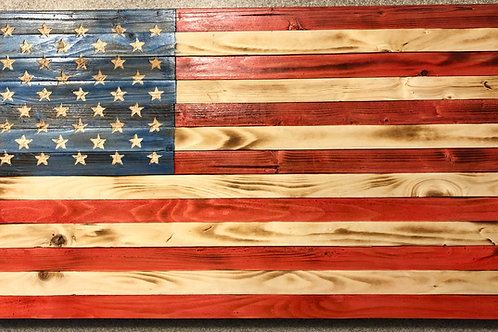 Small Wooden Rustic American Flag (9 in X 18.5 in)