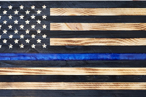 Small Thin Blue Line Flag with blue epoxy stripe. (9 inches X 18.5 inches)