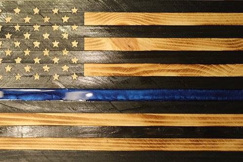 Medium Sized Wooden Rustic Thin Blue Line Flag with Epoxy blue stripe