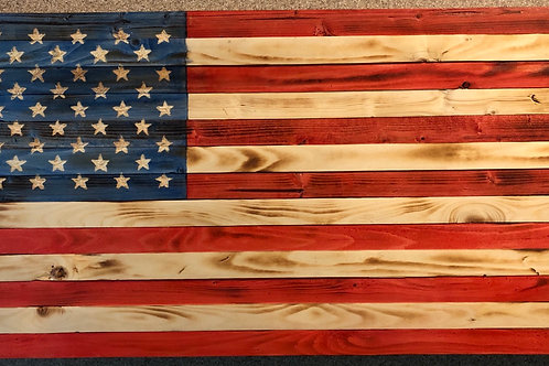 Large Wooden Rustic American Flag (19.5 in  X 37 in)