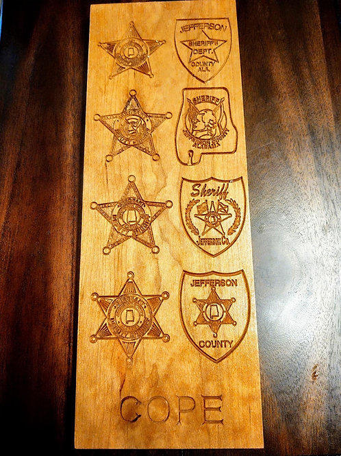 Jefferson County Multi-badge carved Plaque