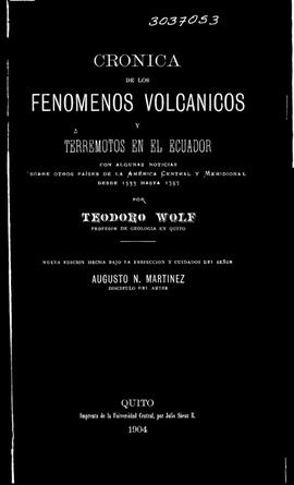 """Tapa de """"Crónica sobre los fenómenos volcánicos"""" escrito por Teodoro Wolf."""