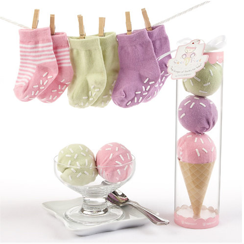 """Sweet Feet"" Three Scoops of Socks Gift Set (Pink or Brown)"