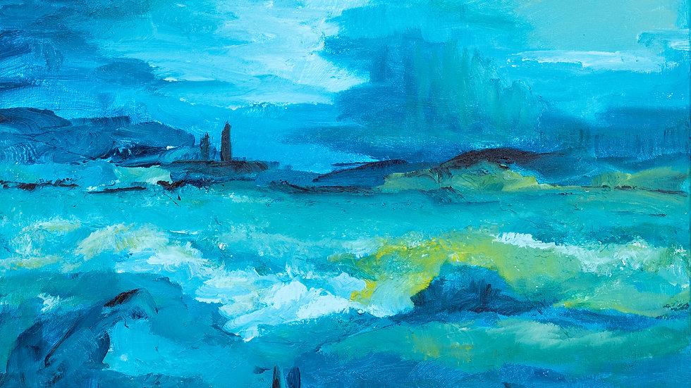 Landschap in blauw