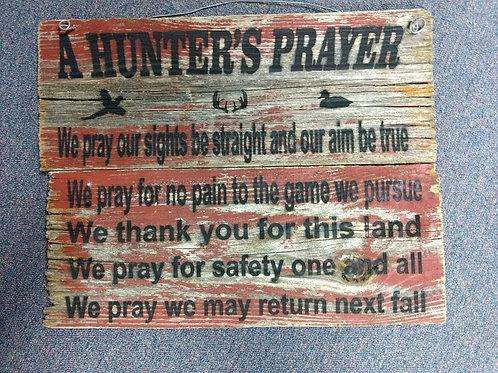 Hunters Prayer barn wood sign