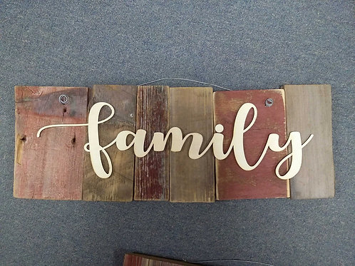 Family barn wood sign