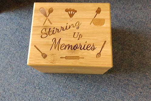 Bamboo wood recipe file box stirring memories