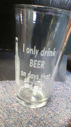 drink on days end in y beer glass