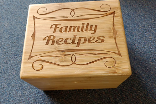 Bamboo Recipe box holder family recipes scroll