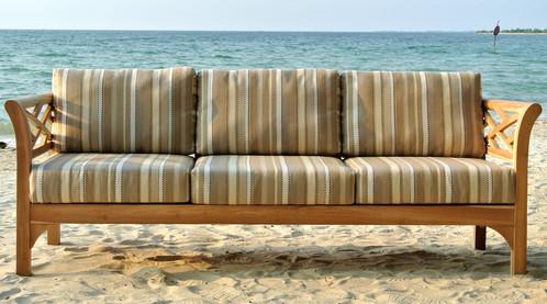 Malibu Teak Outdoor Sofa With Sunbrella Cushions Patio Furniture Los Angeles