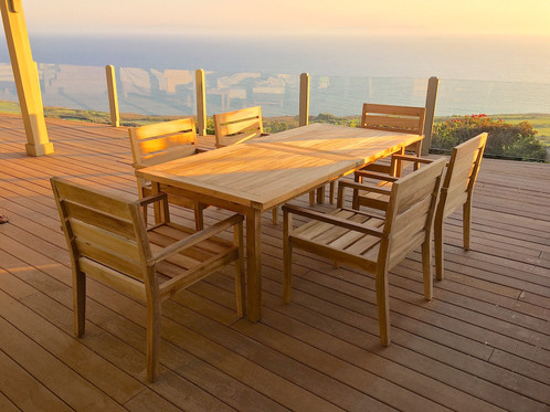 Teak 7 Piece Dining Set with Sunbrella Cushions | Patio Furniture ...