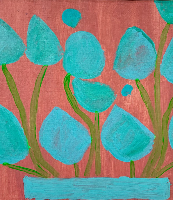 Blue Lilies, 16x20,acrylic on paper, $ 150