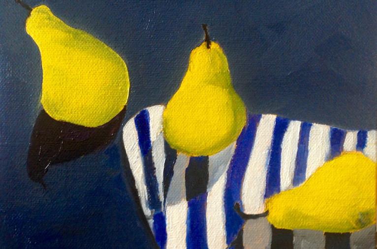 Dancing Pears, 14x14, oil on wood, framed, $400