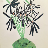 Black daisies in Green Vase, 16x20, acrylic on paper