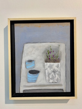 Two Blue Cups, 8X10,acrylic on linen, framed