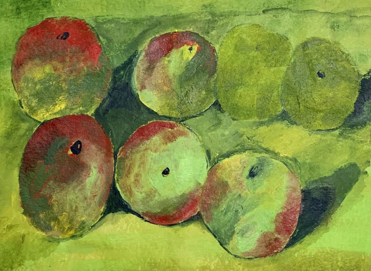 Green Apples,16x20, acrylic on paper, $ 250