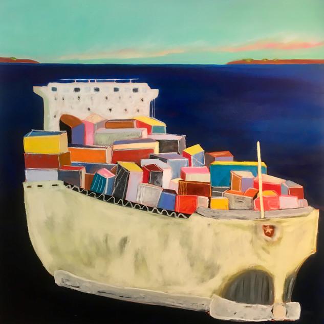 Galveston Container, 36x36, oil on canvas