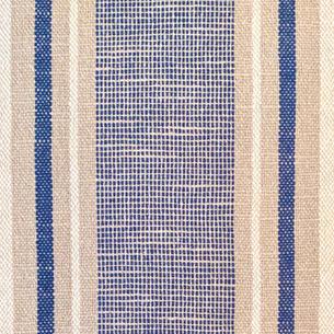 Blue and tan tea towel closeup.