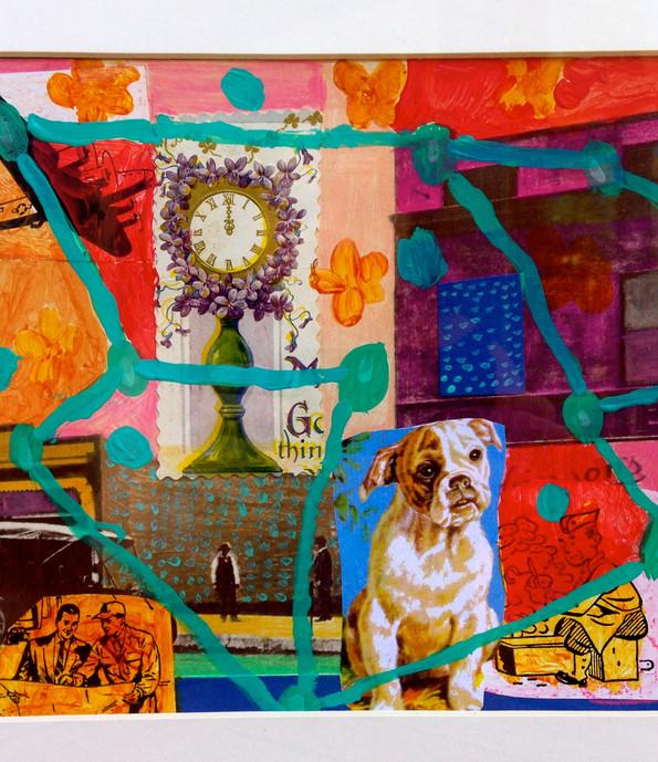 Dog Dreams,11x14, mixed media, SOLD