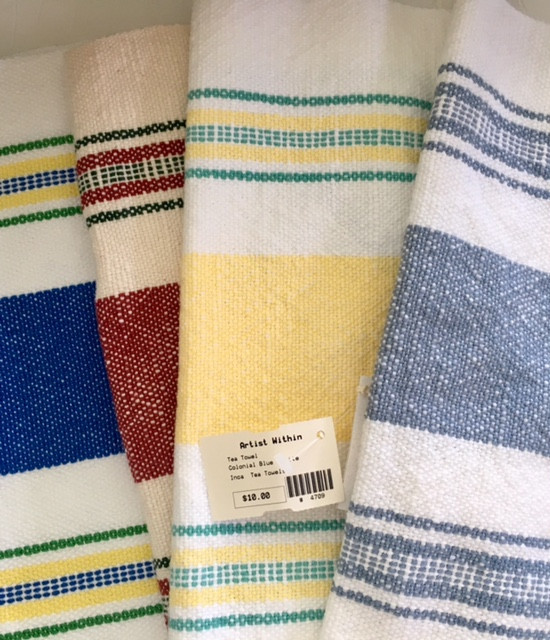 Erin's hand woven tea towels for sale, $30 each