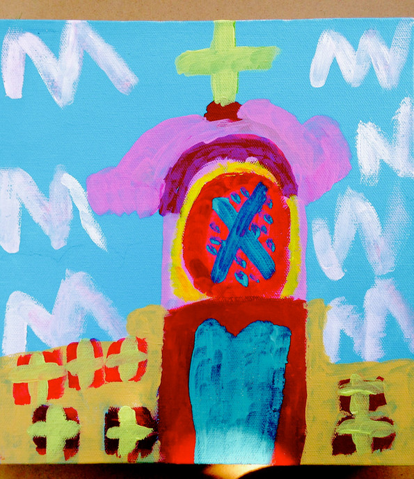 San Rafael Mission Church,10x10,acrylic on canvas, NFS