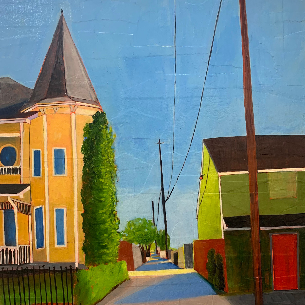 Arlington Street, Heights. 24x18. Oil on collaged canvas.
