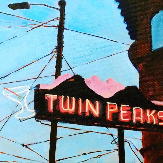 Twin Peaks, 8x16, oil on wood