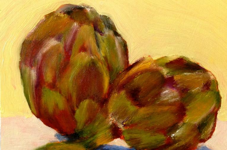 Artichokes, 14x14, oil on wood, $400