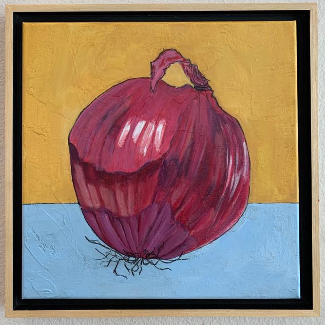 Red Onion, 12x12, mixed media