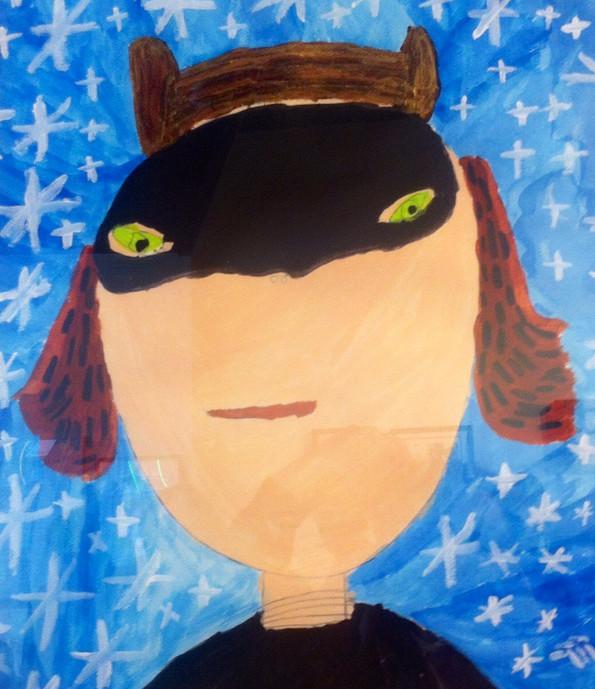 Catwoman Self Portrait,16x20,acrylic on paper NFSr