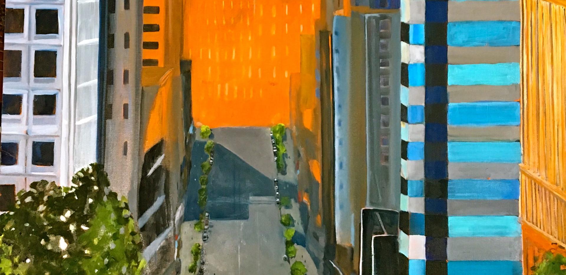 California Street, San Francisco, 30x40, oil on canvas, $2000