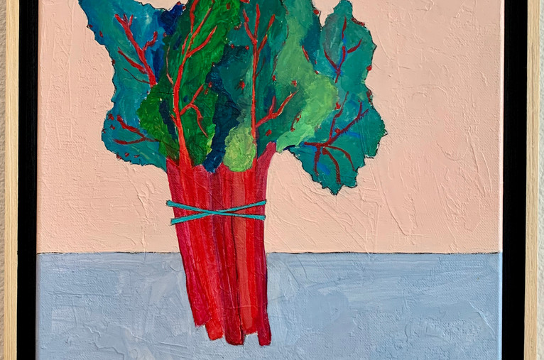 Red Kale, 12x12, mixed media on canvas, framed, $400