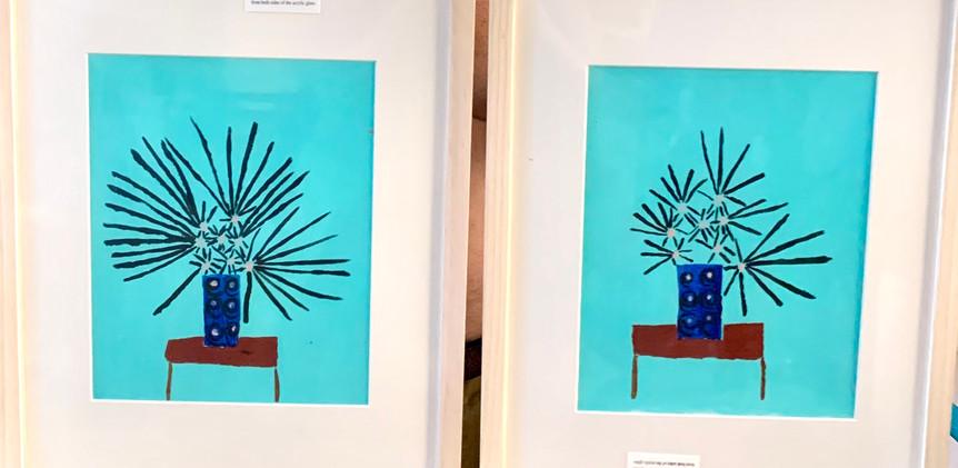 Corona Daisy 1 and 2, 9x11, framed, acrylic.