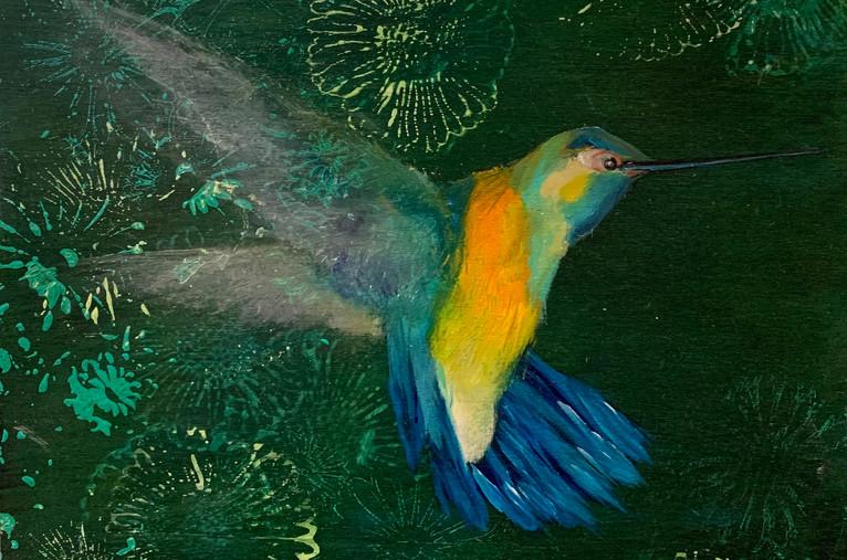 green Hummingbird, 10x10, oil on woodpanel, $275