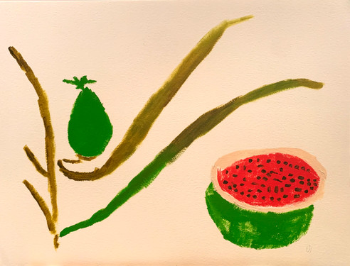 Malaysian Watermelon,16x20, acrylic on paper, Mat, $200