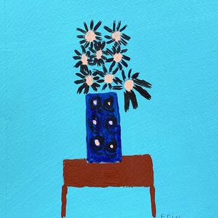 tiny Daisies on Blue.