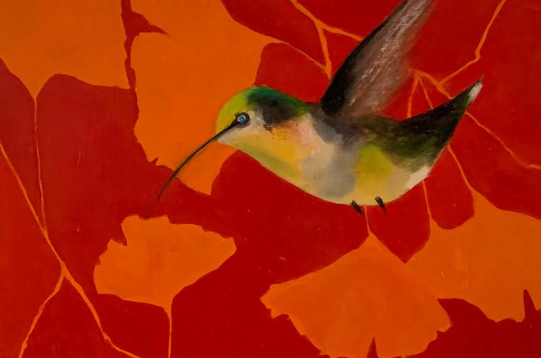 Gingko Humingbird, 10x10,oil on woodpanel. $275