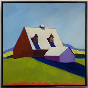 Red House, 36x36,acrylic on canvas, framed- Sold