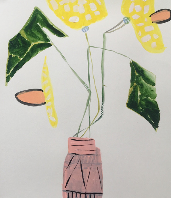 Daffodils in a Jar, 20x24, acrylic on paper, SOLD