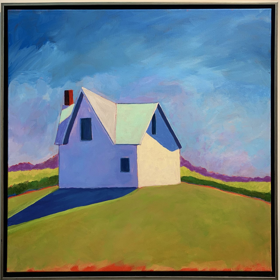 Blue House, 36x36, acrylic on canvas, framed