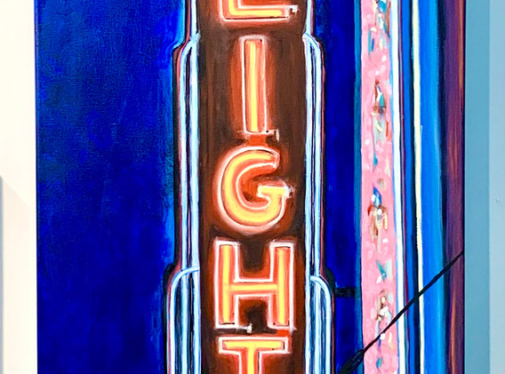 Heights Theatre, 18x48, oil on canvas, $1800