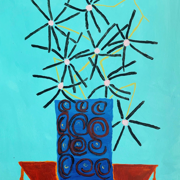 Black daisies on blue background,16x20, acrylic on paper by Erin Dee