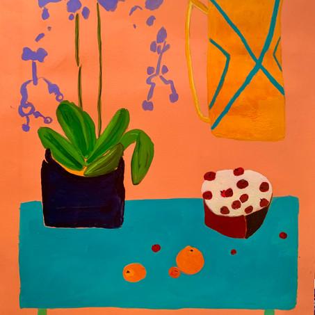 Corona Happy Hour, 20x24, acrylic on paper, mat, $400