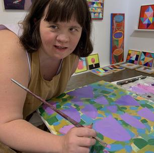 Erin working on some new Summer Art.