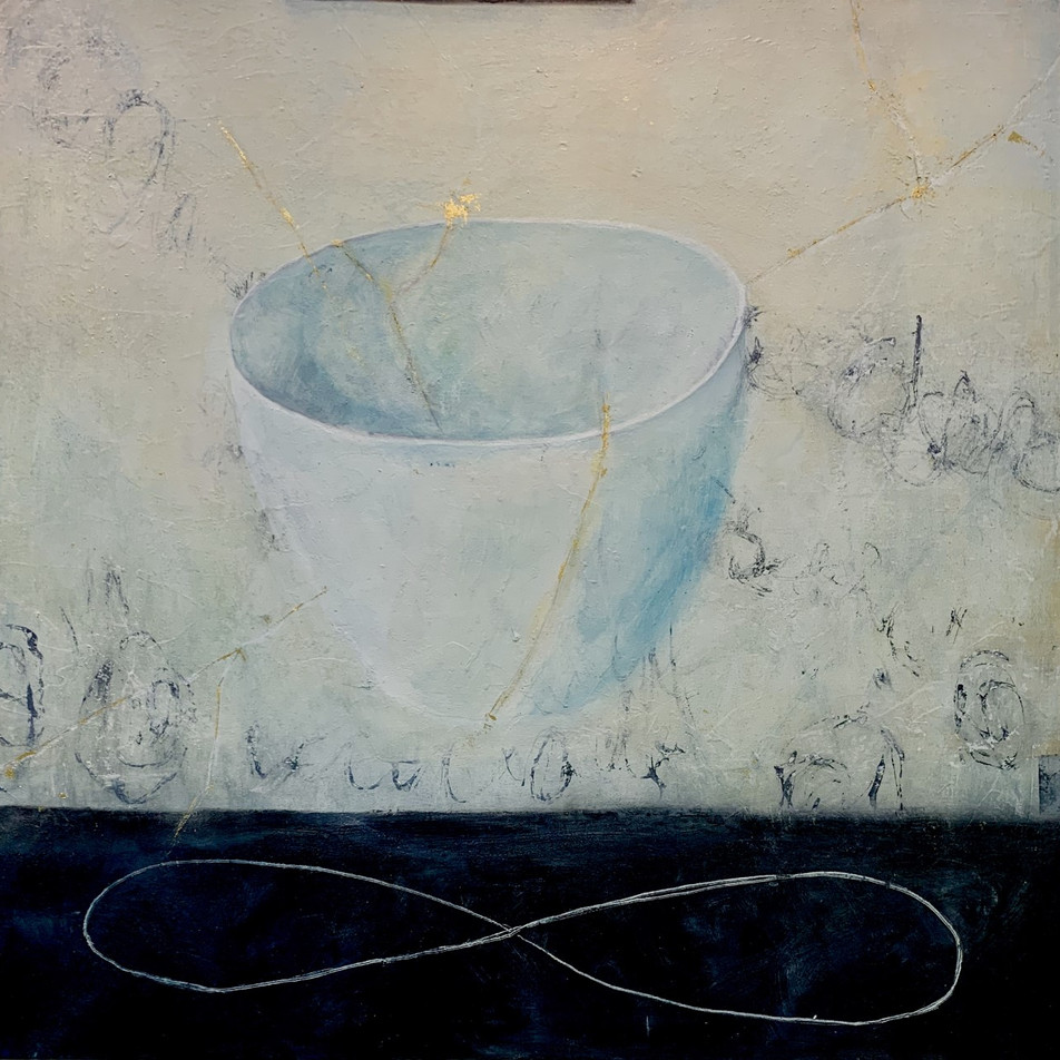 Kintsugi Cup, 36x36, oil, cols wax, 23K gold leaf - Sold