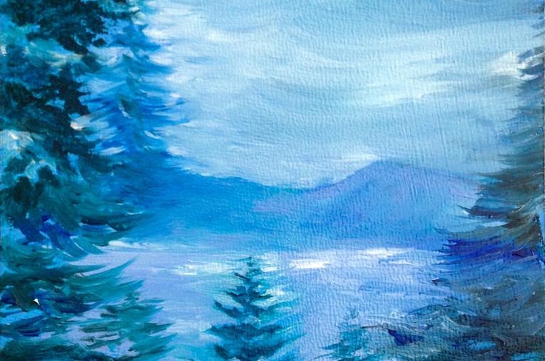 Lake Tahoe Moonlight, 4x4, oil on wood, $200