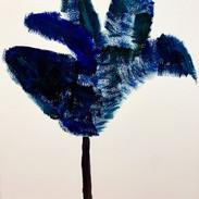 Blue Tulip. 16x20, acrylic on paper, by Erin Dee